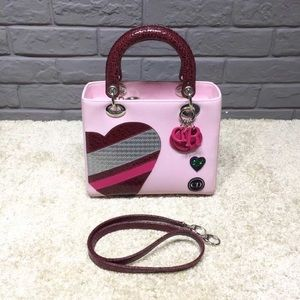Auth Lady Dior limited edition pink heart